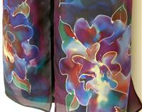 Purple Orchid Hand Painted Pure Silk Scarf